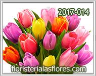 Tulipanes de varios colores para feliz aniversario