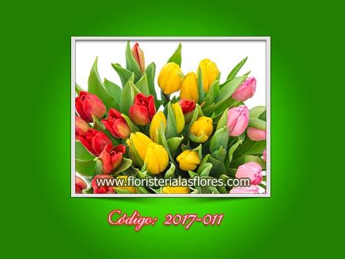 Ramos de tulipanes de colores varios